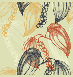 Seamless background with hand-drawn black pepper vector