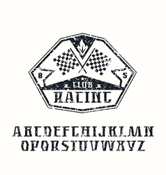 Serif font and racing emblem vector