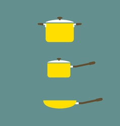 Set of Cooking Pot And Pan Flat Design vector image vector image