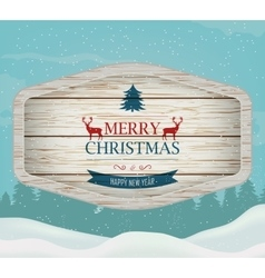 Signboard with Christmas greeting against a winter vector image vector image