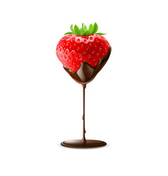 Strawberry in chocolate trickle isolated white vector