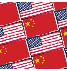 Usa and china flags or banner vector