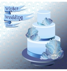 Wedding cake with winter frozen glass design vector image vector image
