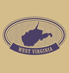 West virginia map silhouette - oval stamp vector