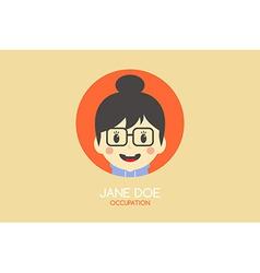 woman cartoon theme business card vector image