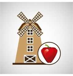 Windmill and apple icon vector