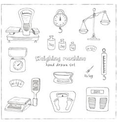 Doodle weighing machine set tools vector image