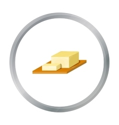 Bar of butter on cutting board icon in cartoon vector
