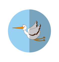 Stork flying isolated icon vector