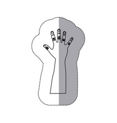 Figure person hand up icon vector