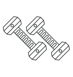 Dumbbell weight gym equipment outline vector