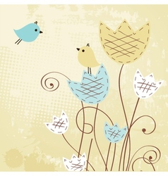 Cute greetings card with bird vector image