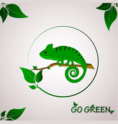 Go green concept with chameleon logo vector