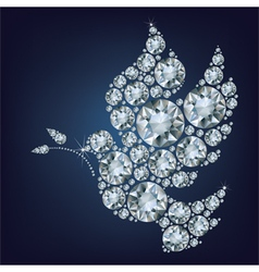 Peace dove with olive branch made from diamonds vector image