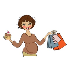 Happy pregnant woman at shopping isolated on white vector