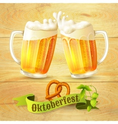 Beer mugs Octoberfest poster vector image