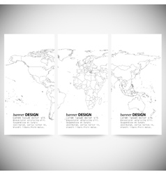 Set of vertical banners gray political world map vector