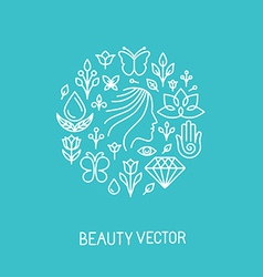 Beauty and spa line logo and sign vector