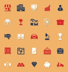 Asset and property classic color icons with shadow vector