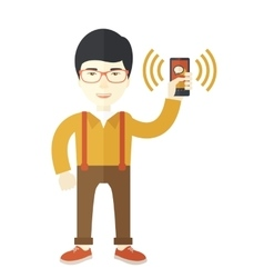 Office worker and his smartphone vector
