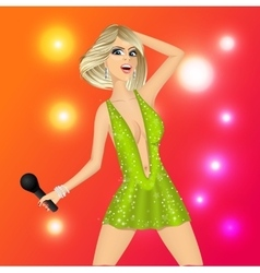 Blonde woman with microphone vector