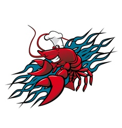 Red prawn vector