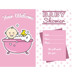Baby girl in the bath vector