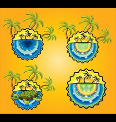 Holiday sticker with sun beach and palms vector