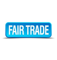Fair trade blue 3d realistic square isolated vector