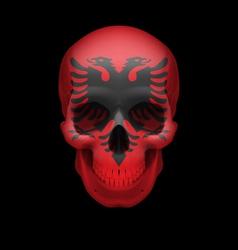 Albanian flag skull vector