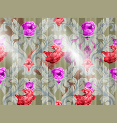 baroque pattern with watercolor flowers vector image