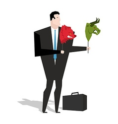 Bear and bull mask in hands of businessman trader vector