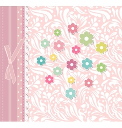 Beautiful baby floral greeting card vector