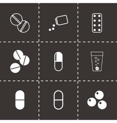 Black pills icons set vector