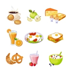 Breakfast food assortment set of isolated icons vector