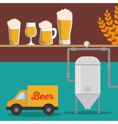 Brewery beer glasses wheat truck vector
