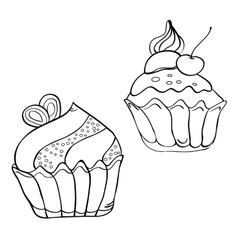 Cake contour black and white vector