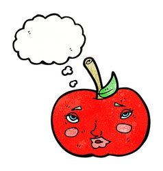 Cartoon apple with face with thought bubble vector