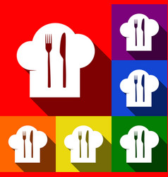 Chef hat and spoon fork knife sign set vector