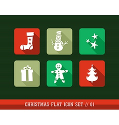 Colorful Merry Christmas flat icons set vector image