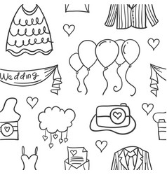 Element wedding various in doodles style vector