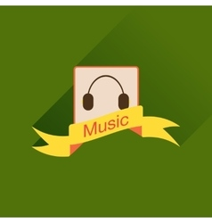 Flat icon with long shadow mobile phone music vector