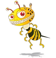 Flying monster with yellow and black striped vector