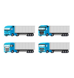 four different blue trucks for delivery goods vector image