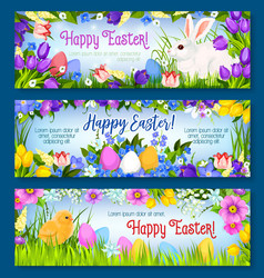 Happy easter paschal eggs bunny banners set vector