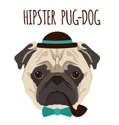 hipster pug dog cartoon pug dog background vector image