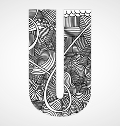 Letter U from doodle alphabet vector image
