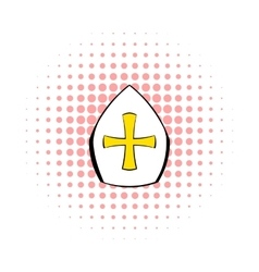 Papal tiara hat with cross icon comics style vector