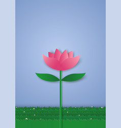 Pink lily flower paper art style vector