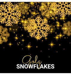 Random Falling Gold Snowflakes Abstract pattern on vector image